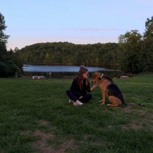 London and Sommer the dog by the lake
